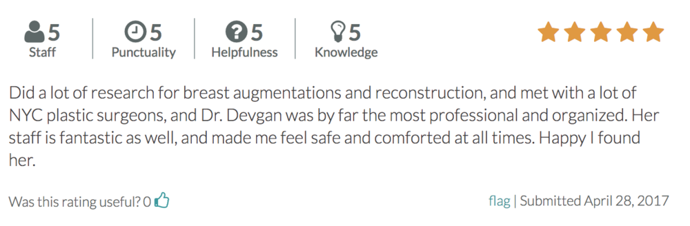 Dr. Devgan prides her practice on professionalism, transparency and delivering successful results