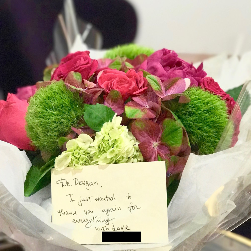 Flowers from cosmetic patient, 3/2017