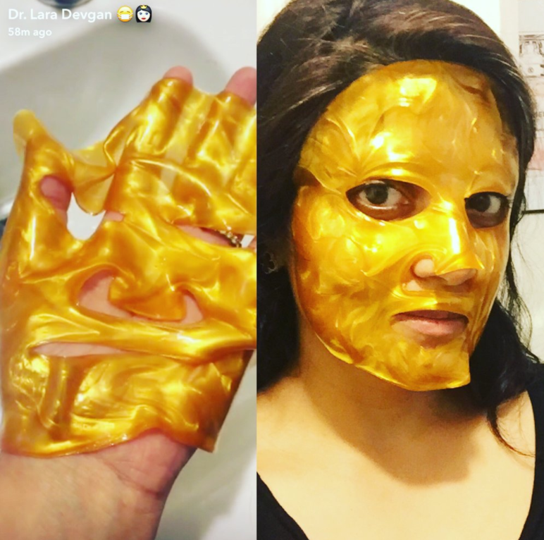 Dr. Devgan demonstartes the Gold Infused Collagen Mask on her Snapchat account, nyplasticsurg