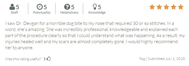 RateMDs.com review from a nose reconstruction patient