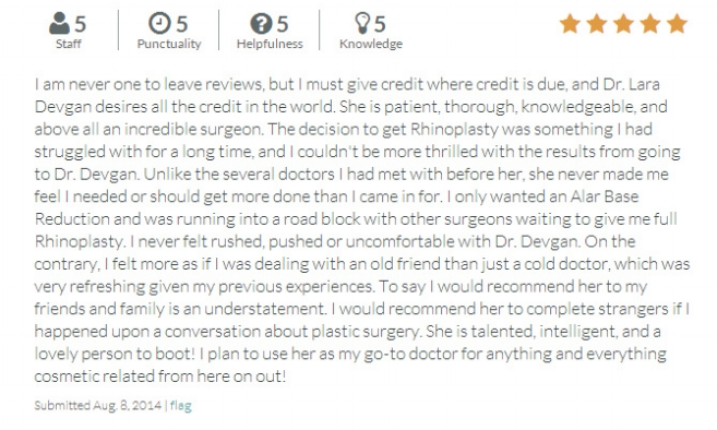 RateMDs.com review from a rhinoplasty patient