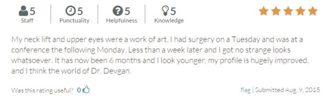 RateMDs.com review from a necklift and upper blepharoplasty patient