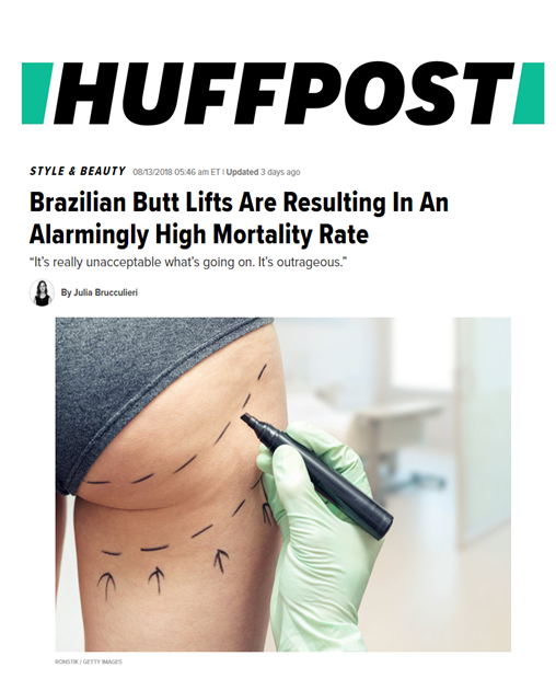 """Huffington Post asks Dr. Devgan to weigh in on the alarmingly high mortality rate resulting from Brazilian Butt Lifts. She offers insight on the subject and emphasizes the importance of choosing a board certified plastic surgeon that is experienced in the procedure.  """"Plastic surgery, in some ways, has become the Wild West,"""" Devgan said, adding that """"all sorts of physicians of all descriptions, whether or not they have formal training in the discipline, are going out there,hanging up the shingle and performing plastic surgery.""""  She also discusses some nonsurgical alternatives to Brazilian Butt Lifts.  """"Nonsurgical options are available too, with the most popular being Sculptra buttock augmentation.That's an injectable filler that stimulates the body's own collagen, and it can be injected to make the buttock more shapely and reduce the appearance of cellulite,"""" she said. """"The limitation of that technique is that it takes a lot of product and a long time for the results to come to be.  """"There's also EmSculpt, which Devgan said is """"basically electric muscle stimulation"""" that's meant to encourage your body to build muscle mass.""""  The full Huffington Post article is available  here ."""
