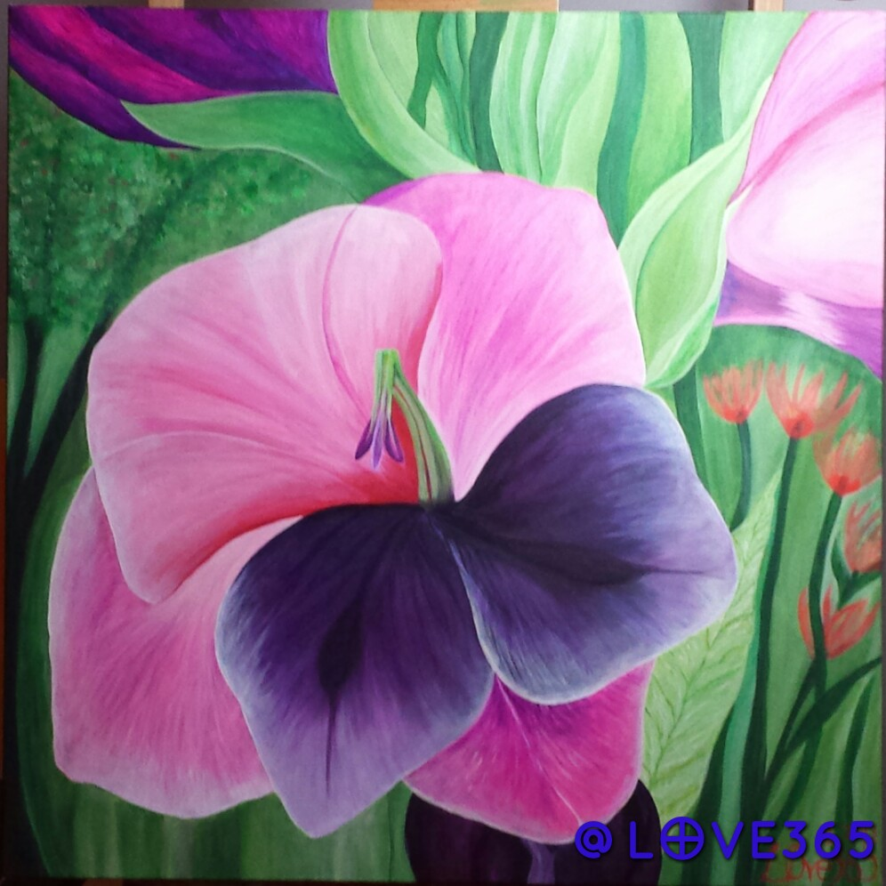 "Cherica The Gladiolus  acrylic on canvas  36"" X 36"""