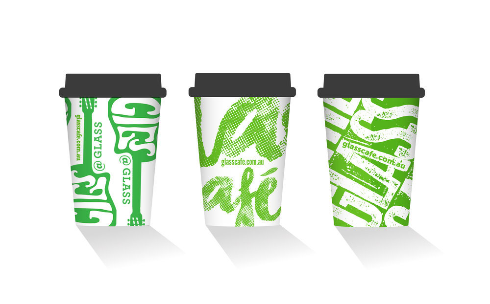 Coffee cup designs (finals) for Glass Cafe in Mittagong