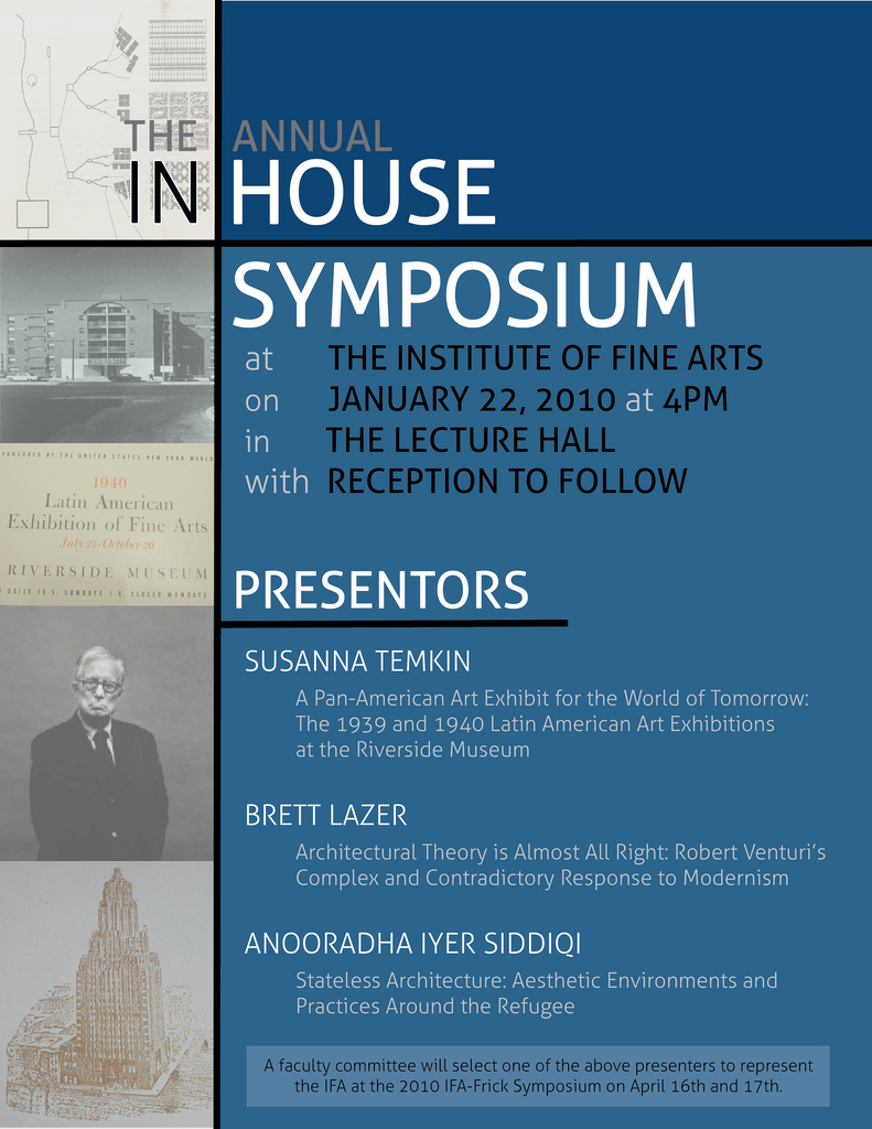 Poster for the In House Symposium at the Institute of Fine Arts