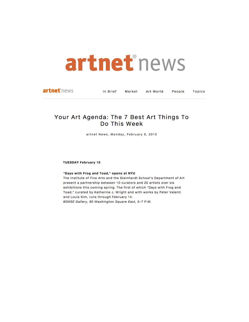 ArtNet News mention, February 9, 2015