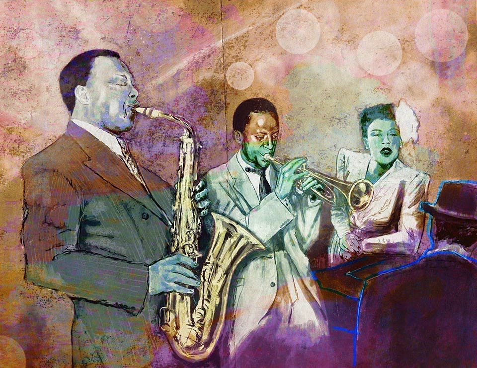 Fantasy Jazz Group 2 in color  #johncoltrane  #milesdavis   #billieholiday   #theloniousmonk   #jazz
