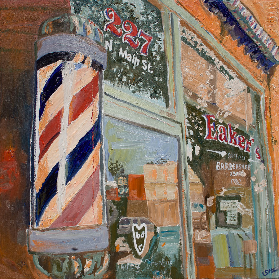 Eaker's Barbershop, oil on canvas, 30 x 30 inches