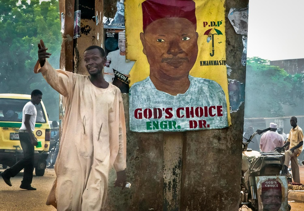 Election poster at the entrance to Kano's Bayero university. There is no separation between religion and state.