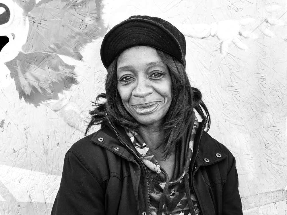 """Lorraine, a Filbert Street regular. She told me her 7-year-old granddaughter in Mississippi called her up and said, """"What are you doing running around on the streets? Come here and take care of me."""""""