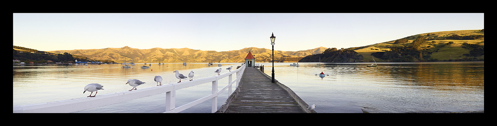 'Bonjour Akaroa'  - Framed Canvas Print $1395 -  440mm x 1680mm (outer frame dimensions), 340mm x 1580mm (canvas dimensions)