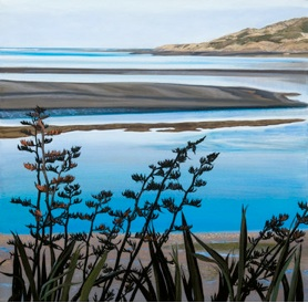 Raglan Harbour Morning – framed $520 Frame measures 650mm w x 680mm h Unframed measures 430mm w x 440mm h