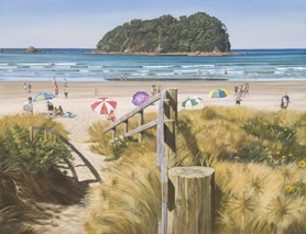 Walkway to Ocean Beach with Motuotau Island – unframed - $459image size 590mm x 450mm, framed –$525image size 380mm x 290mm