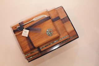 Heritage Rimu and Paua Cheese Boards with Knife $62 - sml 145mm x 200mm, $76 - med 180mm x 250mm, $91 - lge 200mm x 300mm.