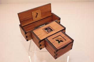 Ian Blackwell Rimu and Paua Chatter Boxes $33 - sml 65mm x 50mm x 40mm, $35 - med 100mm x 50mm x 40mm, $37 - lge 140mm x 50mm x 40mm.