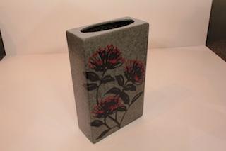 Pacific Pottery Square Pohutakawa vase (on order)