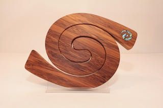 Romeym Woodcrafts Rimu Tablemat 2 piece, Paua Koru $49 180mm x 220mm.JPG