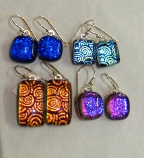 Dichroic hook earrings in a range of colours and sizes
