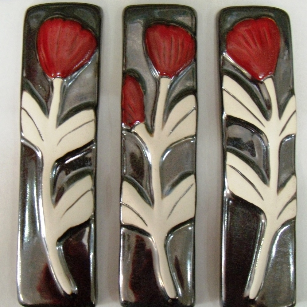 Pohutukawa $71 Stylized set of 3 tiles each measures 60mm w x 220mm h. Comes boxes