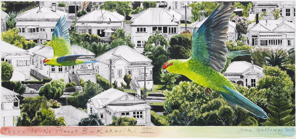 There is No Planet B Kakariki 3 Framed $525 Unframed $359 Framed size 830mm w x 480mm h