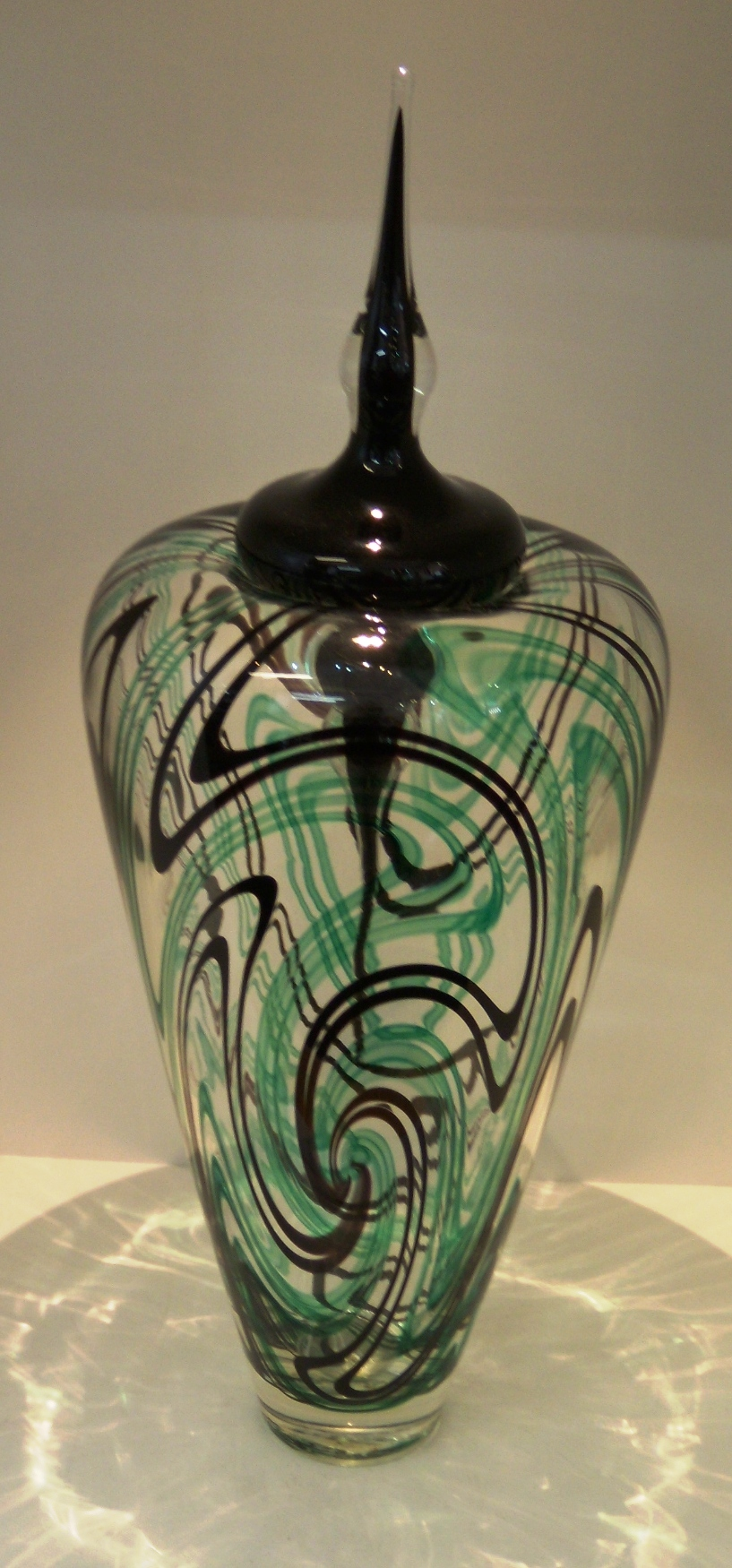 Green and Black Roll Up Vase with Stopper $405 Measures 435 mm h x 140mm diameter