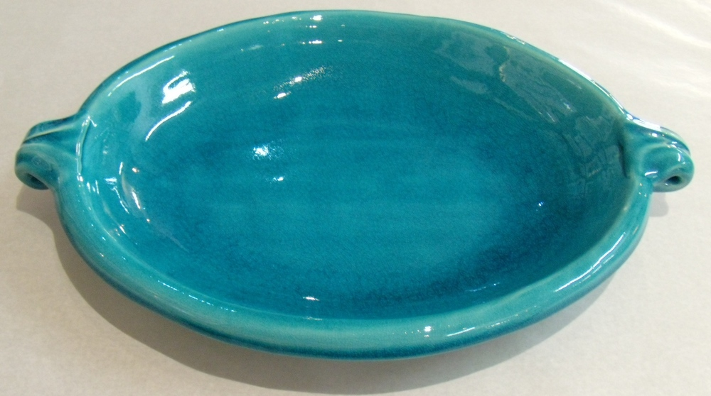 Classic Range Turquoise Oval Platter with handles  Medium size $85 -400 mm l x 290 mm w x 40 mm h. Small size $44 -290 mm l x 210 mm w x 35 mm h