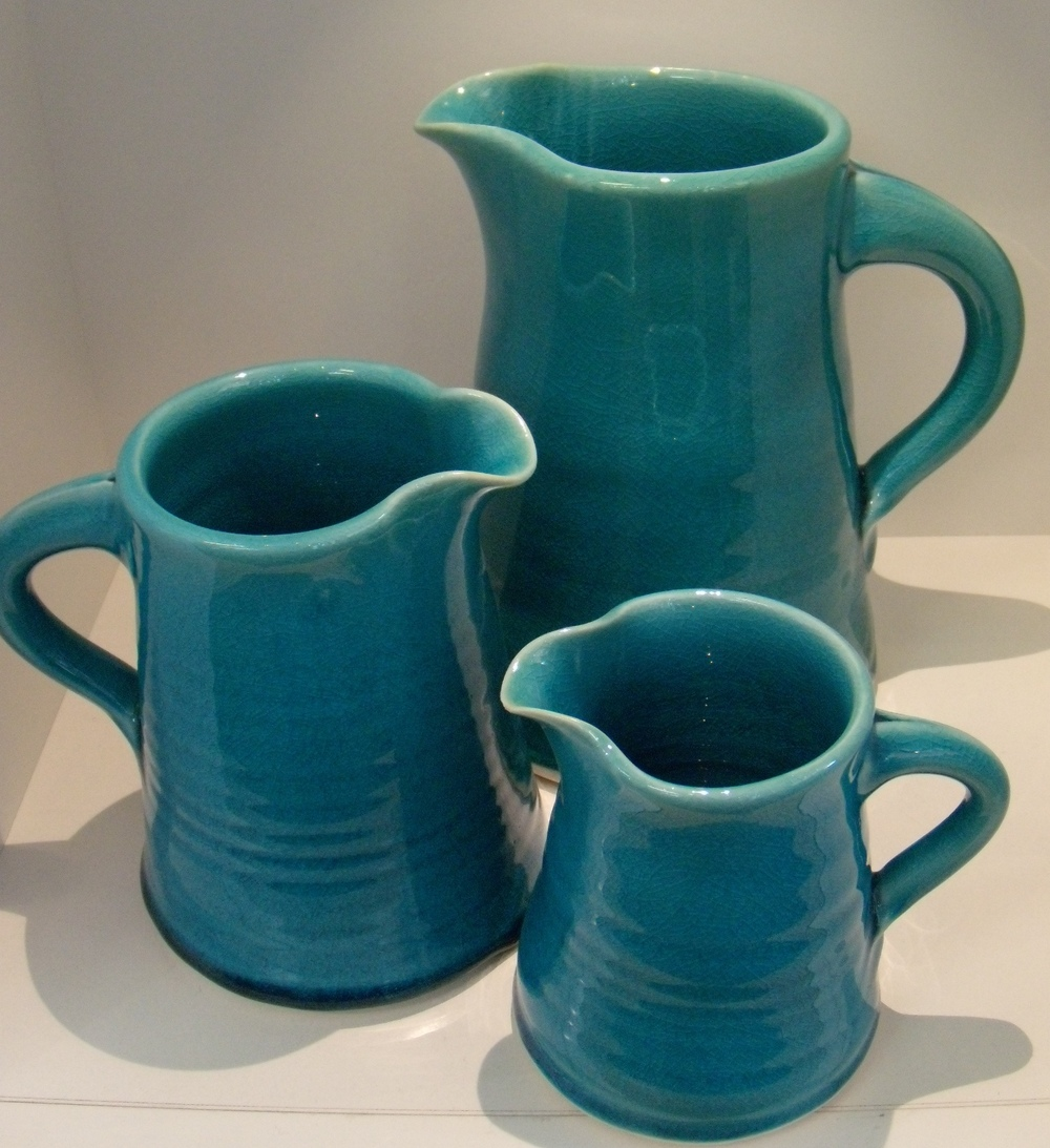 Classic Turquoise Jugs Small $30 - 110 mm w x 110 mm h Med $45 - 140 mm w x 145 mm h Large $66 - 170 mm w x 190 mm h