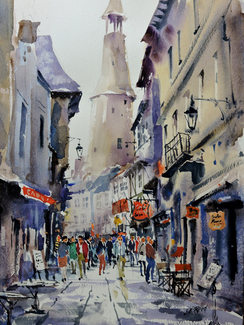 Market Day Dinan North France $1100 Framed size 450 mm w x 560 mm h