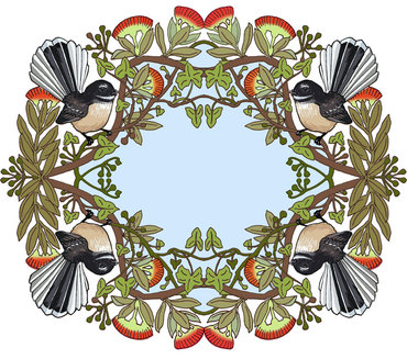 Fantail and Pohutukawa Wreath $145 Unframed 250 mm square