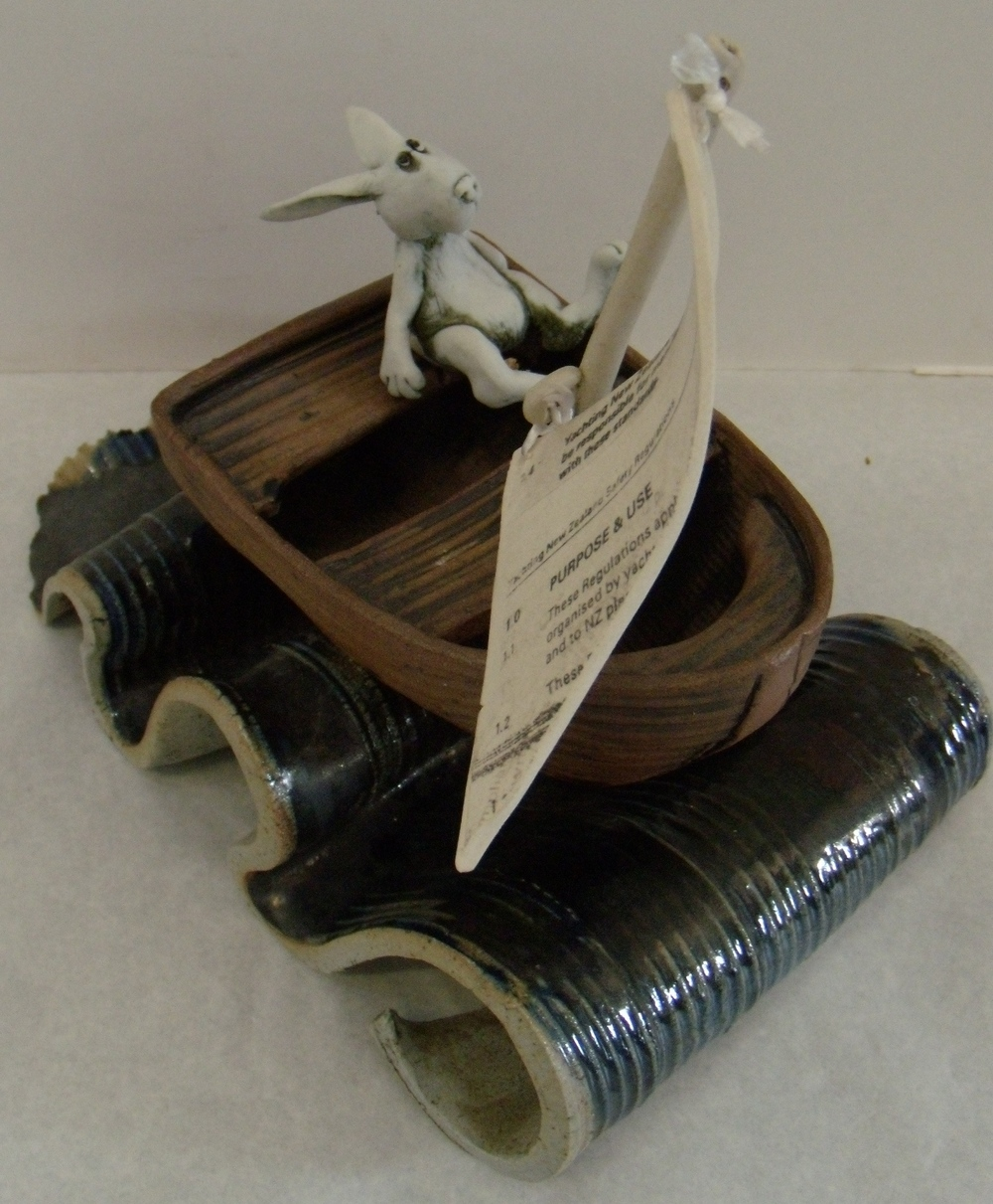 Rabbit in Boat $280 Measures approx 215 mm w x 190 mm h