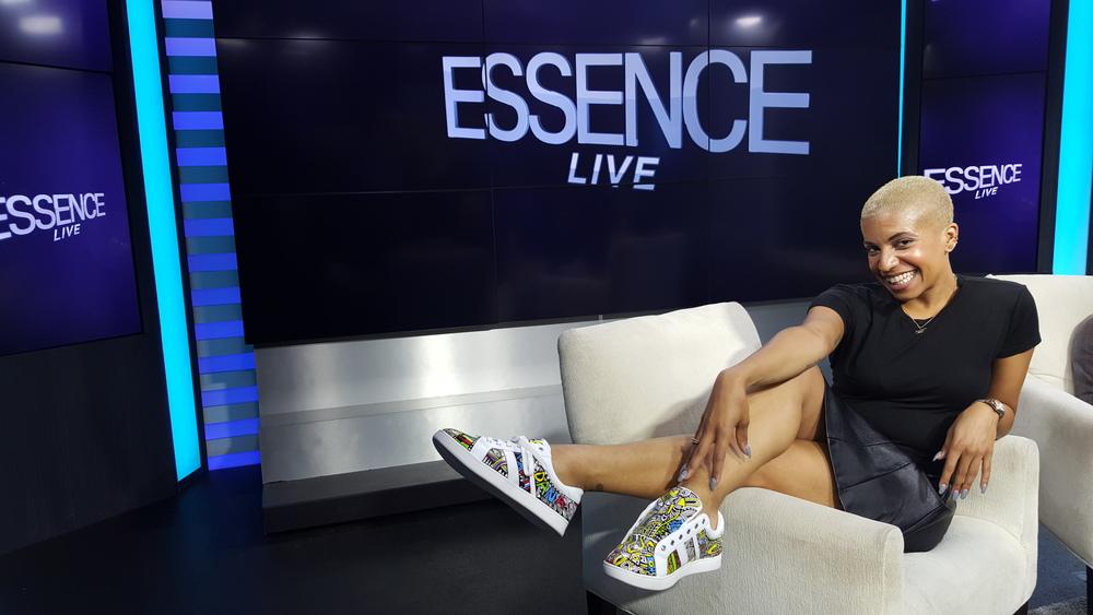 Dana Blair Host of Essence Live wearing shoes by Laolu