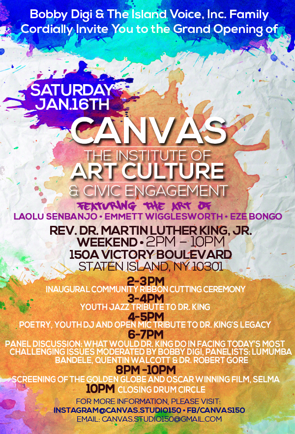 Canvas Opening Invitation featuring Laolu Senbanjo