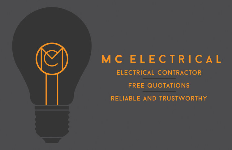 so the concept was to use the logo as the filament within the silhouette of a bulb while using the orange to make it stand out and mirror the filament - Electrician Business Cards