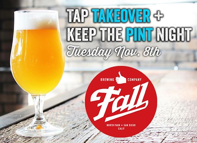 Join us and @fallbrewing as they take over our taps. We'll have flight specials, schwag giveaways, and you get to keep the one-of-a-kind Fall Brewing pint glasses! Tuesday, November 8th.