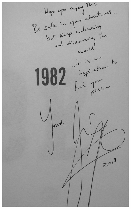 "My ""inspirational"" copy of 1982, written and signed by Jian Ghomeshi. I keep it to remind me to never be an insecure, abusive bag-of-dicks to anyone, no matter their gender. And to be brave enough to write MY story."