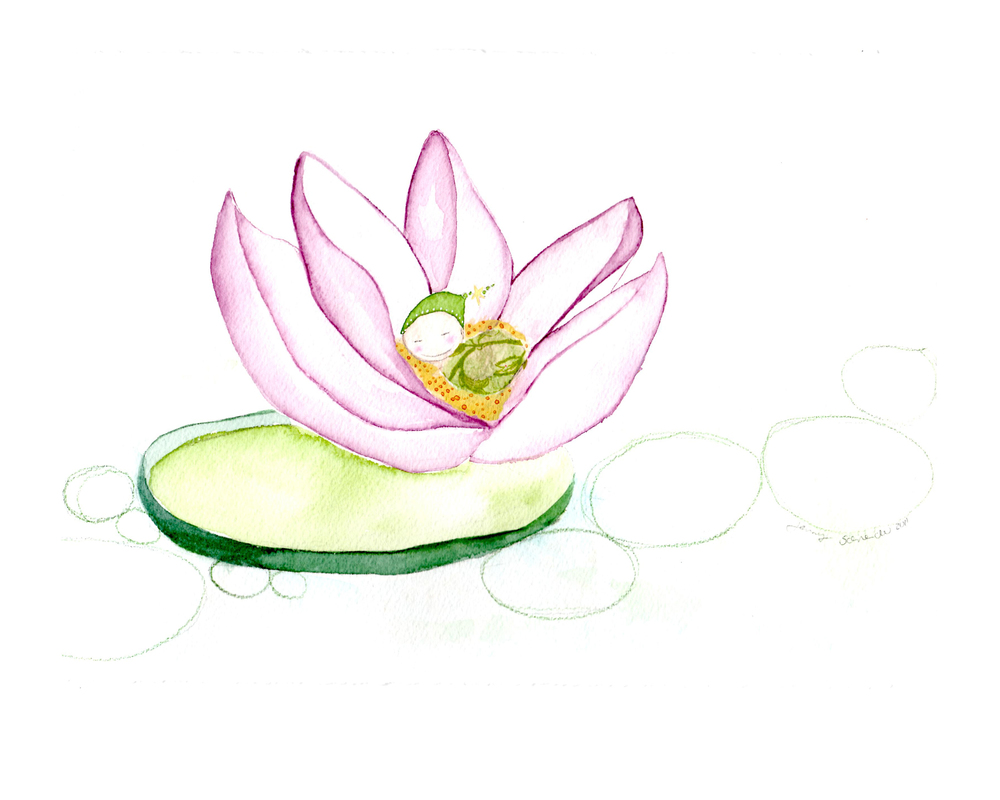 Lotus Baby, Watercolor and Mixed Media, 2011
