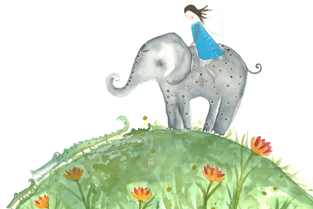Elephant and Me, Watercolor and Mixed Media, 2011