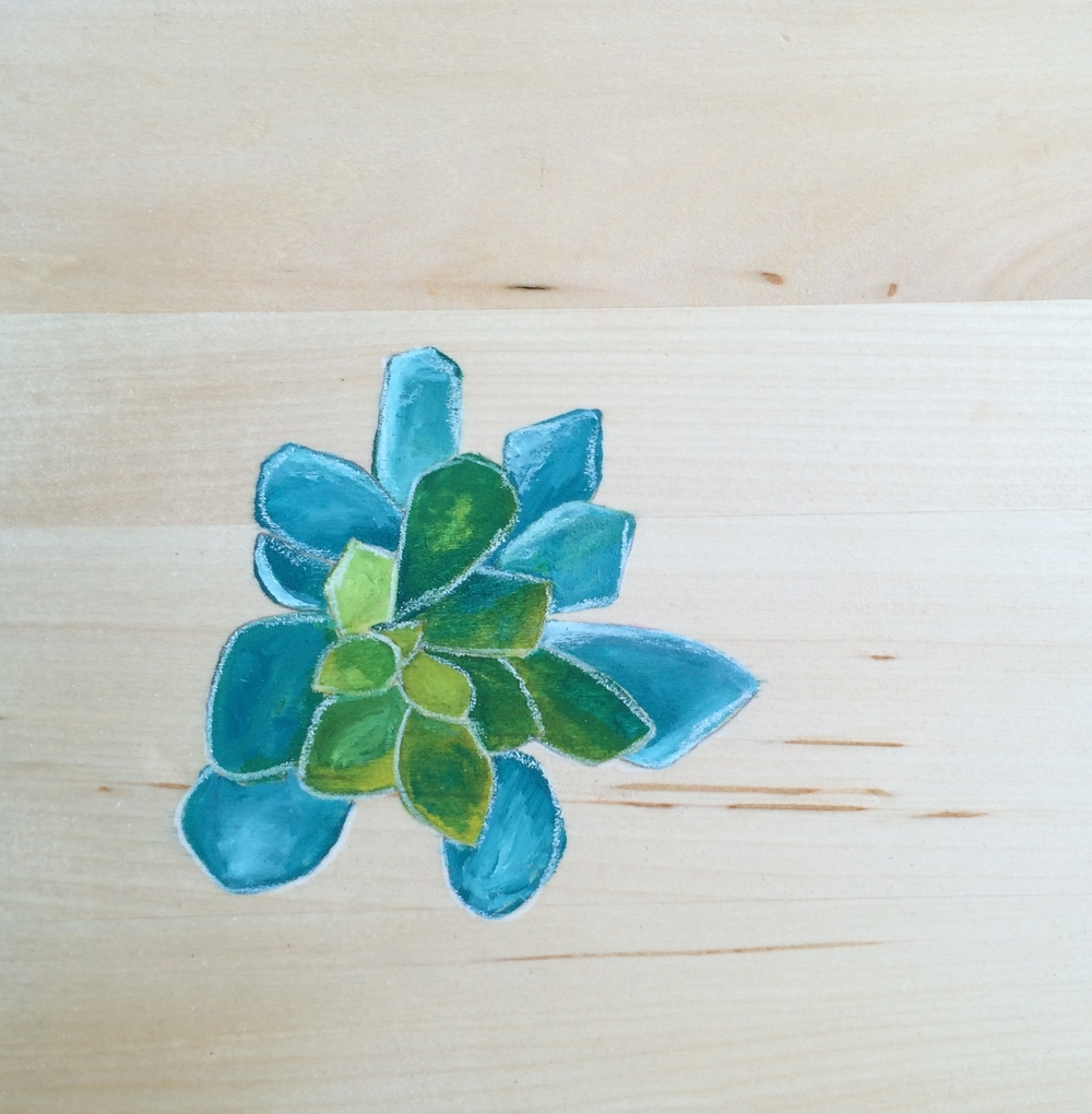 *succulent*  acrylic on birch wood