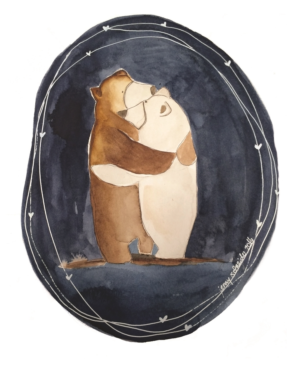 Bear Hugs, Watercolor, 2016