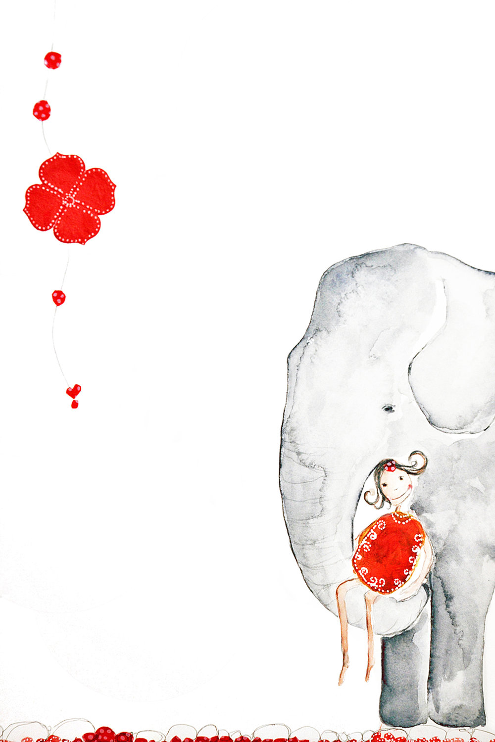 Trust the Elephant, Watercolor and collage, 2010 (original in private collection)