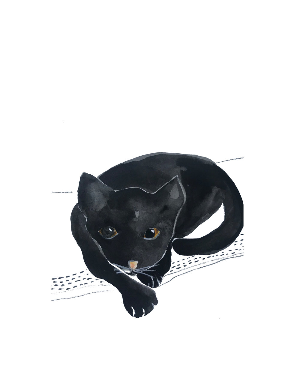 Black Cat, Watercolor, 2017