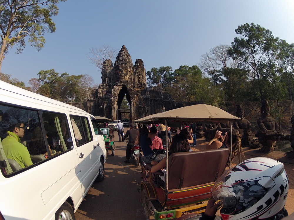 Hippie in a Tuk-Tuk - tourist on a bus. Heading to Angkor Wat, Cambodia. February, 2013