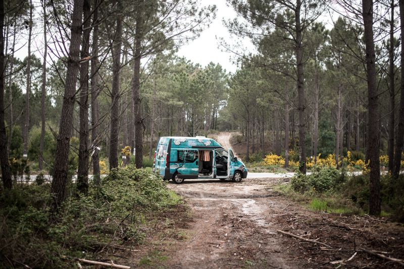 A quick stop in the woods, somewhere along the road. Meet Dolores, our home and carriage for the week.