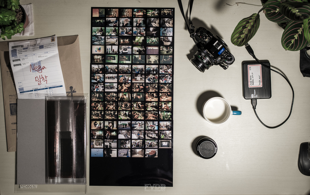 Three rolls & contact sheets developed in Korea by Photopia, for 21.000 KRW. Highly recommendable.