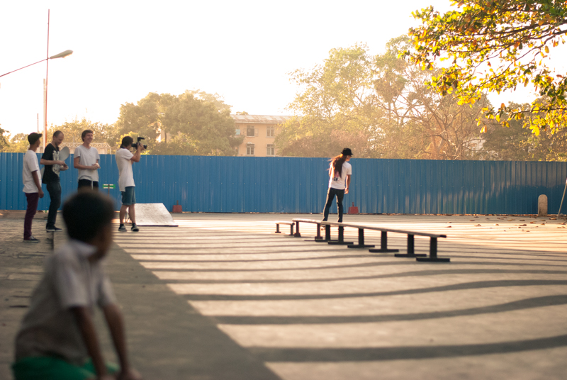James Holman filming one of the local skaters in Yangon
