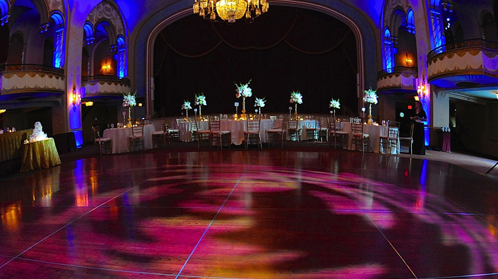 Uplights, floral pinspots, cake pinspot, and dancefloor dual-color texture.