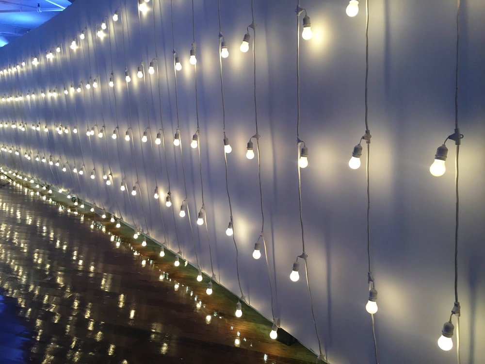 Vertical String Lights at Tribeca360 for Courtney and Dave.