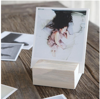BLOCK + PRINTS Make it a well-dressed desk! This gift item is a simple way to create a rotating art display with 12 of your photos that sit as textured paper prints in a wood block.