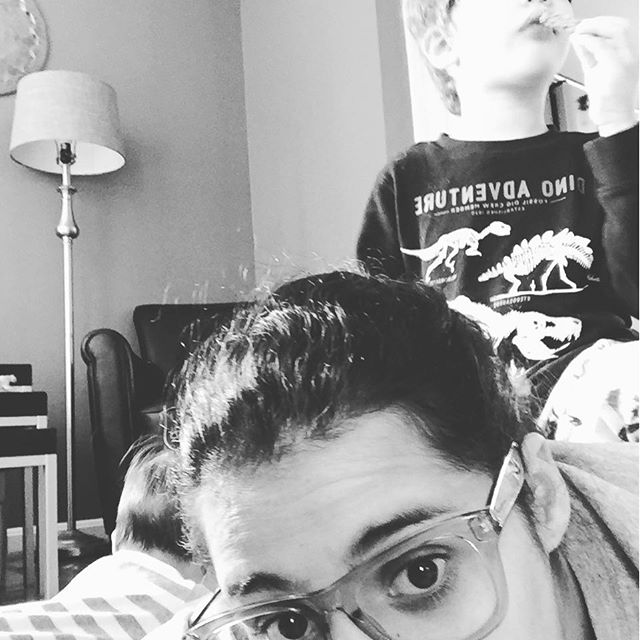 The new normal... Kid on my back while I entertain baby